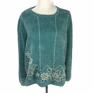 Alfred Dunner Woman's Blue Spring Sweater Floral
